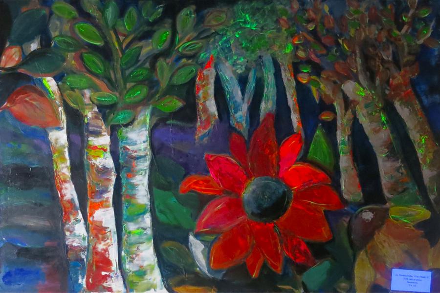Nicoleta Jutka's fluorescent paintings in the European Cultural Centre, Bucharest